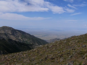 We've crossed the saddle below Comanche Peak and gotten our first look at the San Luis Valley to the west with the San Juan mountains in the distance