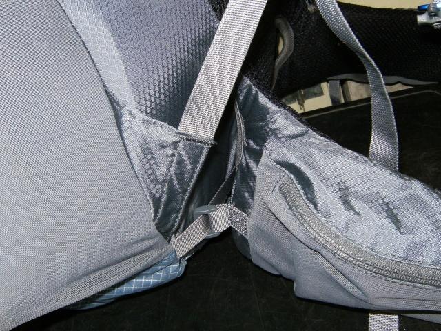 Lower shoulder strap and hip belt attachment, hip belt pocket.