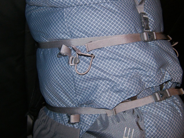 Side view - compression straps wrapped all the way around.