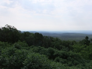"Looking south at the Ouachitas from ""the second overlook"" on the way up to the top."